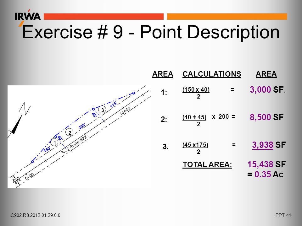 Exercise # 9 - Point Description AREACALCULATIONS AREA 1: 2: 3. TOTAL AREA: (40 + 45) 2 8,500 SF 3,938 SF x 200 = (45 x175) = 2 (150 x 40) = 2 3,000 S