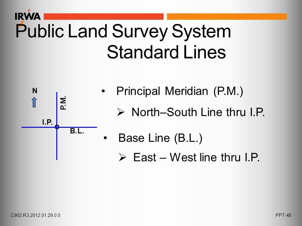 Public Land Survey System Standard Lines  North–South Line thru I.P.  East – West line thru I.P. Base Line (B.L.) Principal Meridian (P.M.) I.P. o B