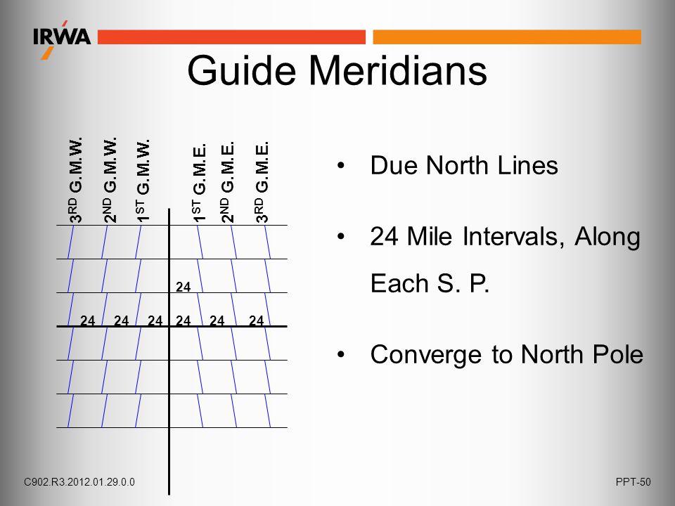 Guide Meridians 24 3 RD G.M.W. 2 ND G.M.W.1 ST G.M.W.1 ST G.M.E.2 ND G.M.E.3 RD G.M.E. 24 Due North Lines 24 Mile Intervals, Along Each S. P. Converge