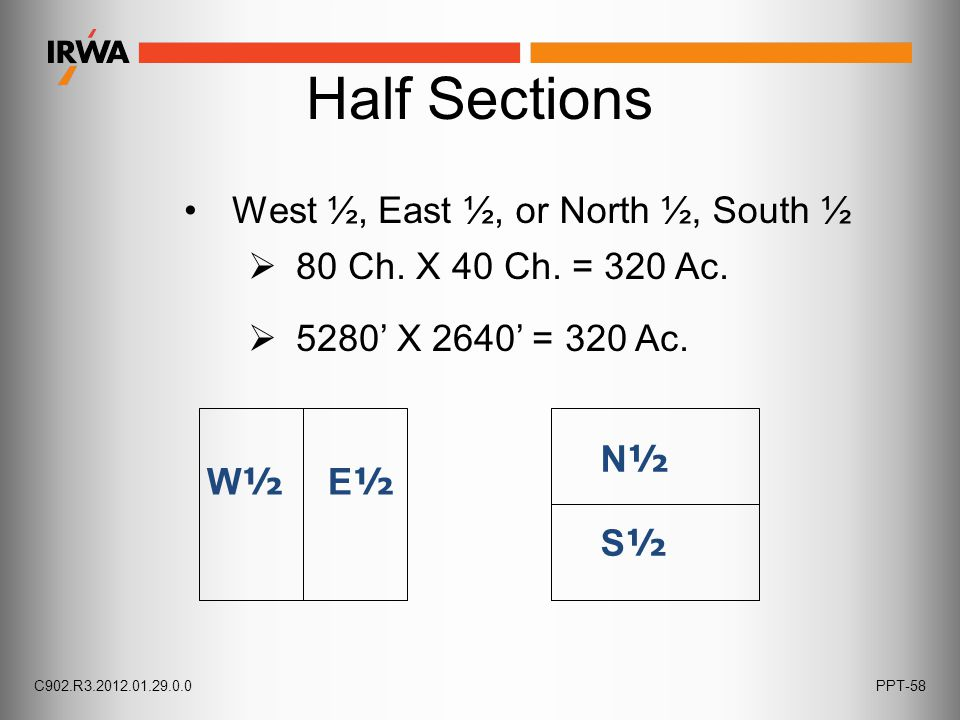 Half Sections W ½ E ½ N½S½N½S½ West ½, East ½,  5280' X 2640' = 320 Ac.
