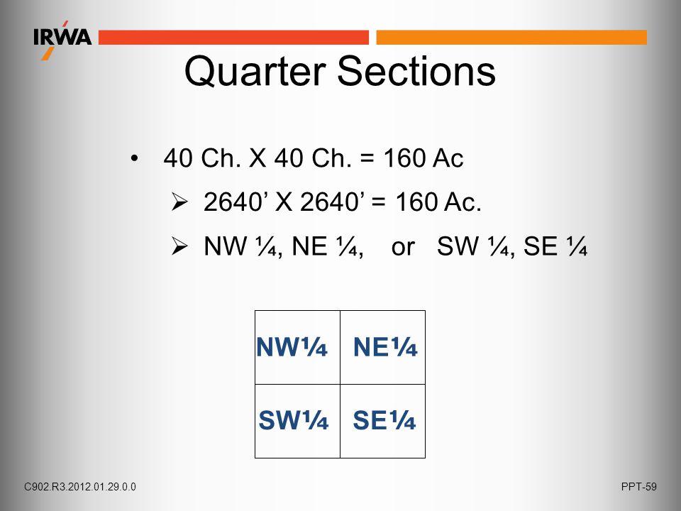 40 Ch. X 40 Ch. = 160 Ac NW ¼ NE ¼  NW ¼, NE ¼,  2640' X 2640' = 160 Ac. or SW ¼, SE ¼ SW ¼ SE ¼ C902.R3.2012.01.29.0.0PPT-59 Quarter Sections