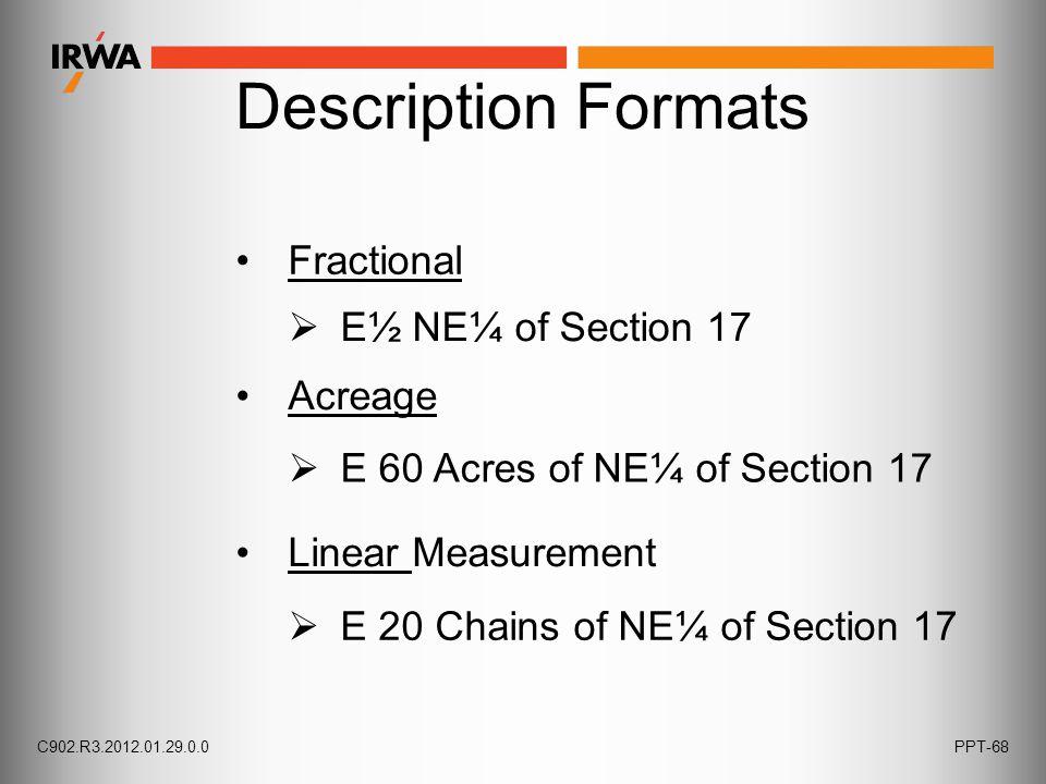 Description Formats Fractional Acreage  E½ NE¼ of Section 17 Linear Measurement  E 60 Acres of NE¼ of Section 17  E 20 Chains of NE¼ of Section 17