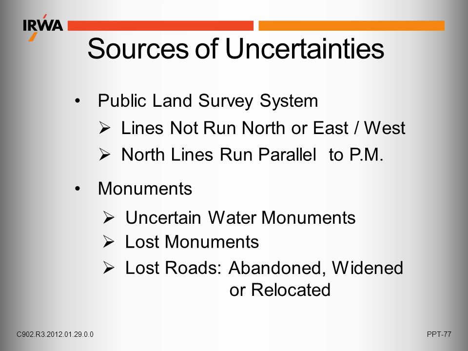 Public Land Survey System  Uncertain Water Monuments Monuments  Lines Not Run North or East / West  North Lines Run Parallel to P.M.  Lost Monumen