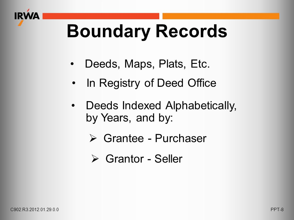 Boundary Records Deeds, Maps, Plats, Etc. In Registry of Deed Office Deeds Indexed Alphabetically, by Years, and by:  Grantee - Purchaser  Grantor -