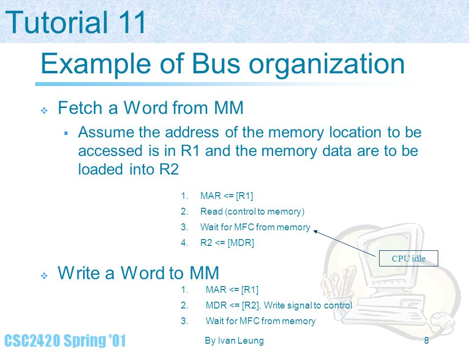 Tutorial 11 By Ivan Leung8 Example of Bus organization  Fetch a Word from MM  Assume the address of the memory location to be accessed is in R1 and