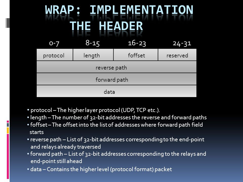protocol – The higher layer protocol (UDP, TCP etc.).