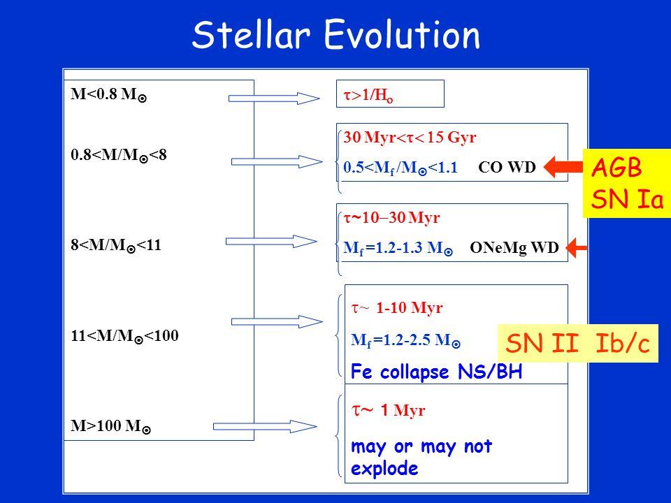 Stellar Evolution M<0.8 M  0.8<M/M  <8 8<M/M  <11 11<M/M  <100 M>100 M   Myr  Gyr 0.5<M f /M  <1.1 CO WD    ~  Myr M f =1.2-1.3 M  ONeMg WD  ~ 1-10 Myr M f =1.2-2.5 M  Fe collapse NS/BH  ~ 1  Myr may or may not explode  SN II Ib/c AGB SN Ia