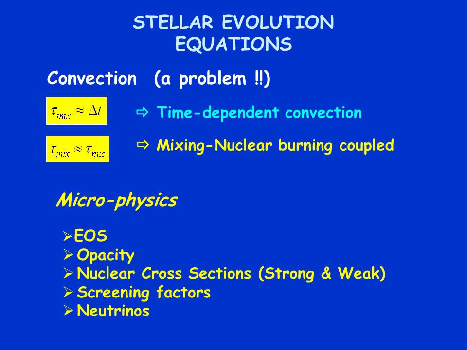 STELLAR EVOLUTION EQUATIONS Convection (a problem !!)  Time-dependent convection  Mixing-Nuclear burning coupled Micro-physics  EOS  Opacity  Nuclear Cross Sections (Strong & Weak)  Screening factors  Neutrinos