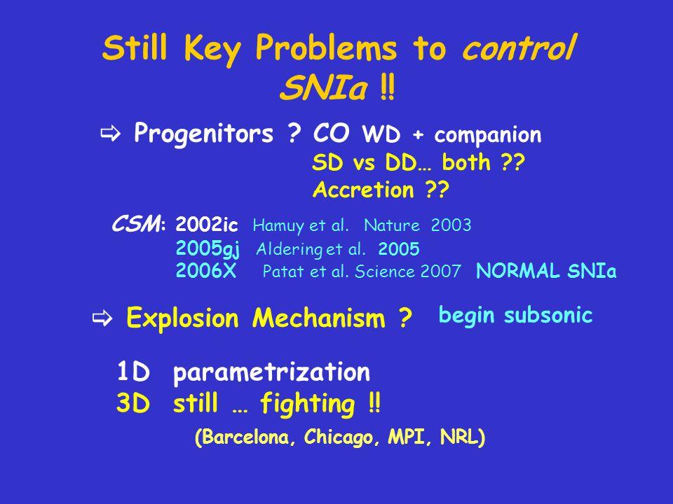 Still Key Problems to control SNIa !. Progenitors .