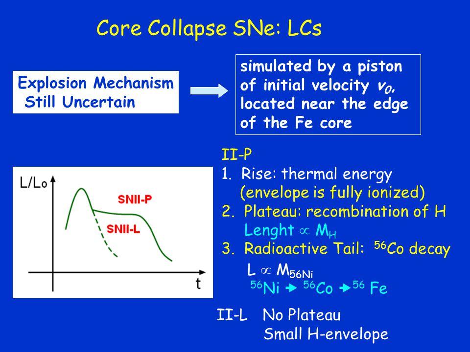 Core Collapse SNe: LCs L  M 56Ni 56 Ni  56 Co  56 Fe II-P 1.