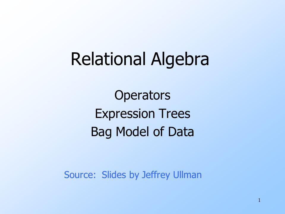 32 Example: Bag Selection R(A,B ) 12 56 12 SELECT A+B<5 (R) =AB 12