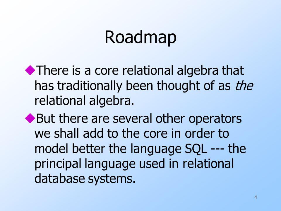 35 Example: Bag Theta-Join R(A,B )S(B,C ) 1234 5678 12 R JOIN R.B<S.B S =AR.BS.BC 1234 1278 5678 1234 1278