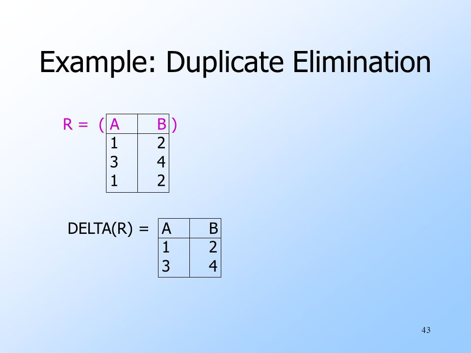 43 Example: Duplicate Elimination R = (AB ) 12 34 12 DELTA(R) =AB 12 34