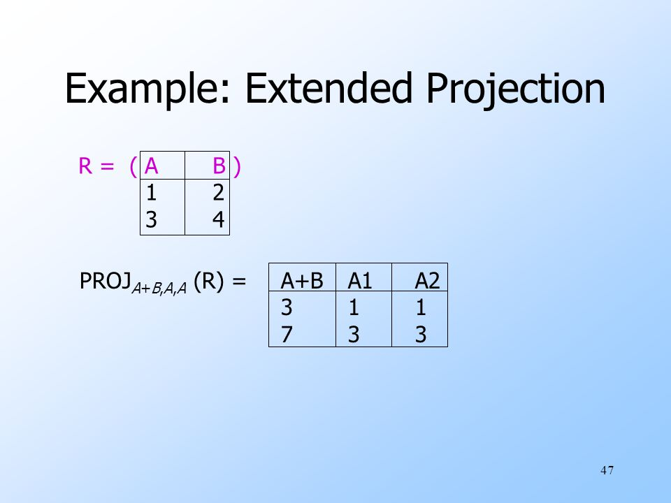 47 Example: Extended Projection R = ( AB ) 12 34 PROJ A+B,A,A (R) =A+BA1A2 311 733