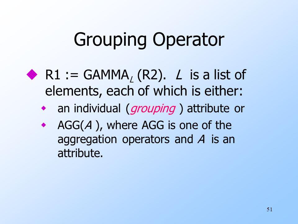 51 Grouping Operator uR1 := GAMMA L (R2).