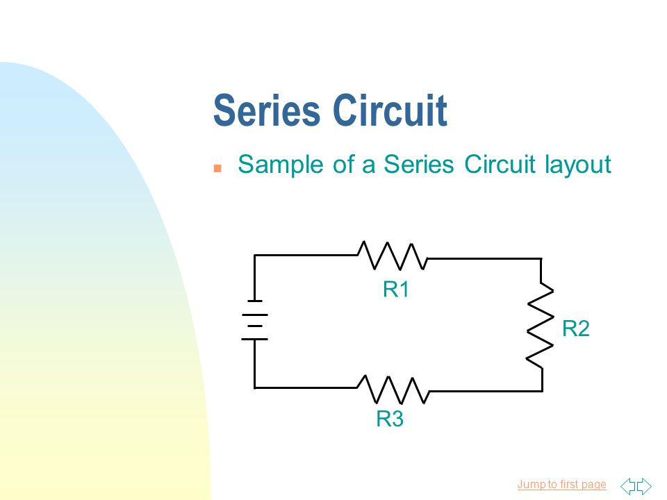 Jump to first page Series Circuit n Sample of a Series Circuit layout R1 R2 R3