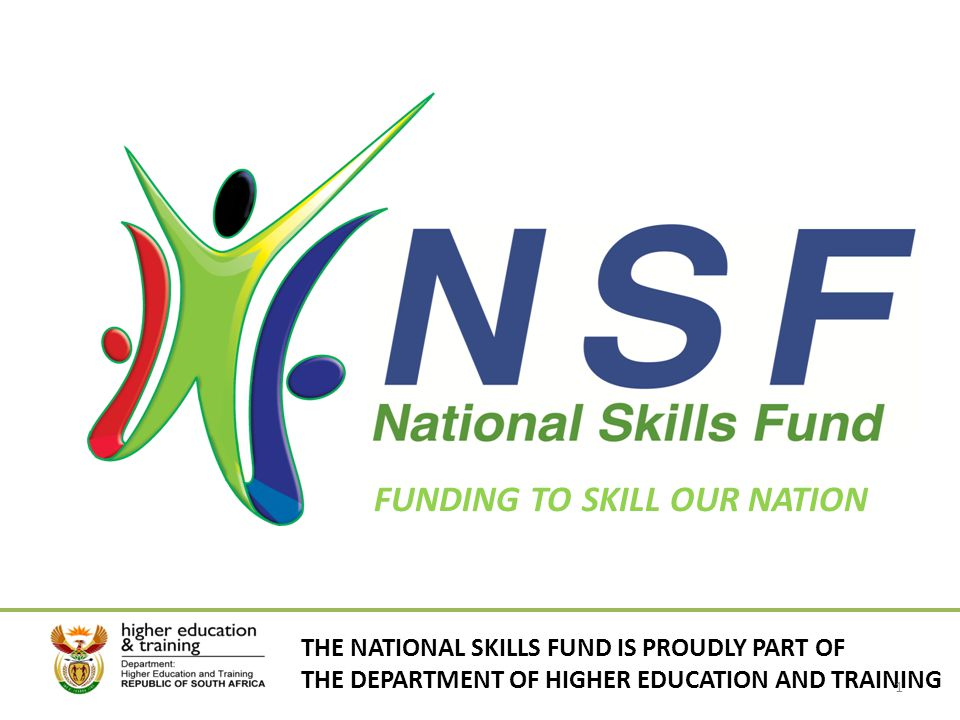FUNDING TO SKILL OUR NATION THE NATIONAL SKILLS FUND IS PROUDLY PART OF THE DEPARTMENT OF HIGHER EDUCATION AND TRAINING 1