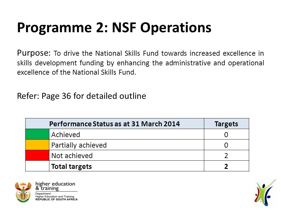 Programme 2: NSF Operations Purpose: To drive the National Skills Fund towards increased excellence in skills development funding by enhancing the administrative and operational excellence of the National Skills Fund.