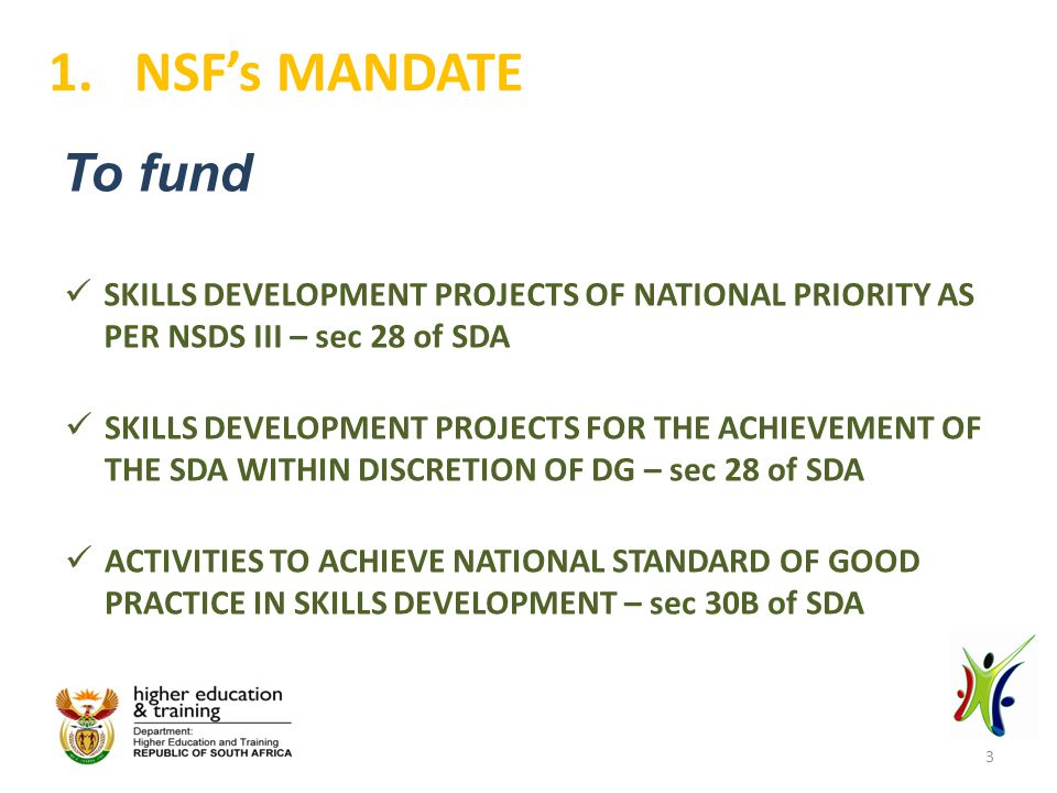 Financial Performance for the year 2013/14 5.NSF FINANCIAL OVERVIEW 11.5% increase in SDL (consistent 10%+ increase for past 5 years) SETAs contribution towards 16 TVET college campuses 8% expected decline in investment income from PIC investments due to decline in surplus funds 24