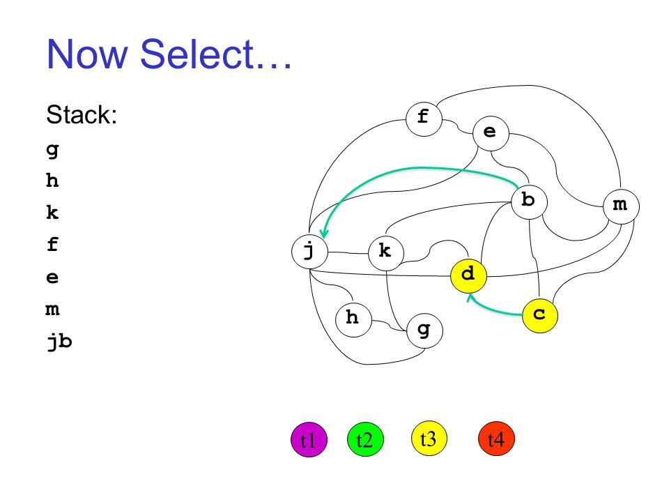 Now Select… Stack: g h k f e m jb j k h g d c b m f e t1 t2 t3 t4