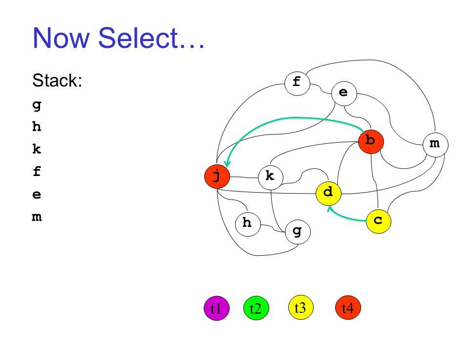 Now Select… Stack: g h k f e m j k h g d c b m f e t1 t2 t3 t4