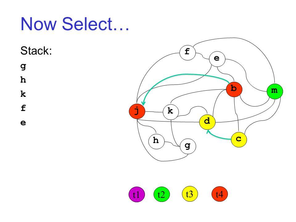 Now Select… Stack: g h k f e j k h g d c b m f e t1 t2 t3 t4