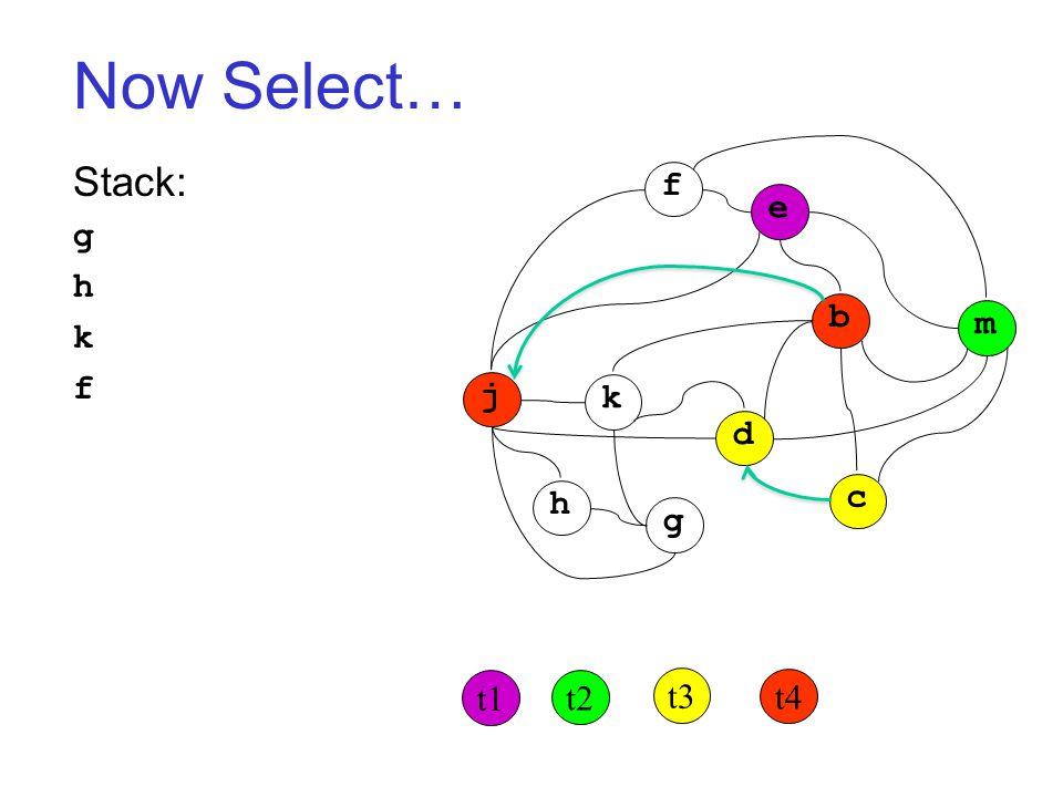 Now Select… Stack: g h k f j k h g d c b m f e t1 t2 t3 t4