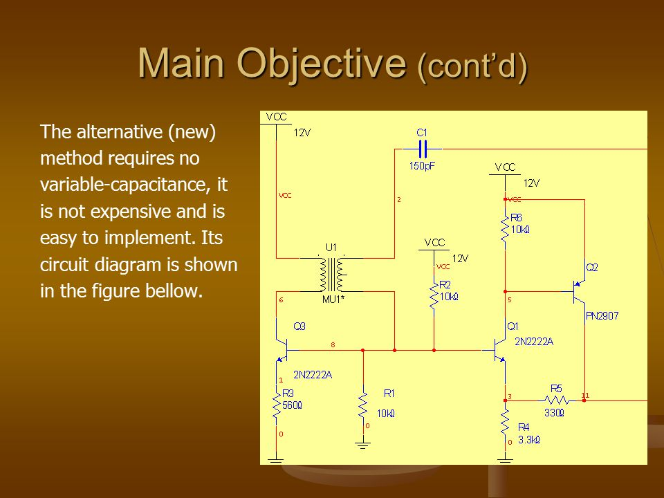 Main Objective (cont'd) The alternative (new) method requires no variable-capacitance, it is not expensive and is easy to implement. Its circuit diagr