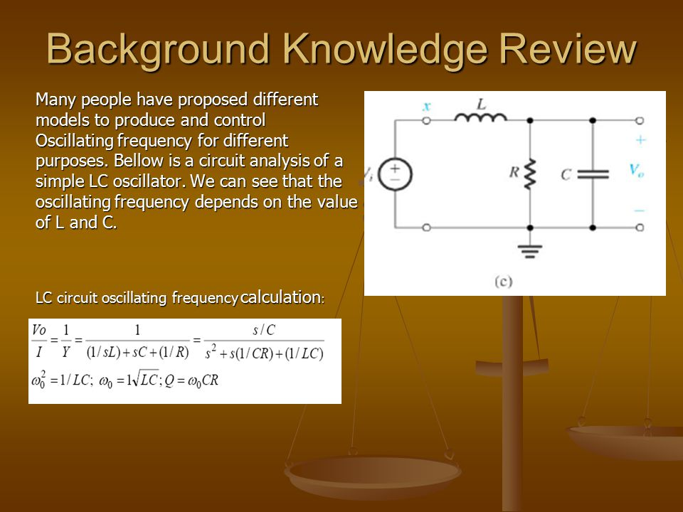 Background Knowledge Review Many people have proposed different models to produce and control Oscillating frequency for different purposes. Bellow is