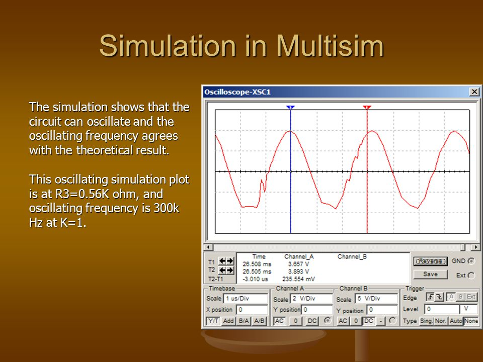 Simulation in Multisim The simulation shows that the circuit can oscillate and the oscillating frequency agrees with the theoretical result.