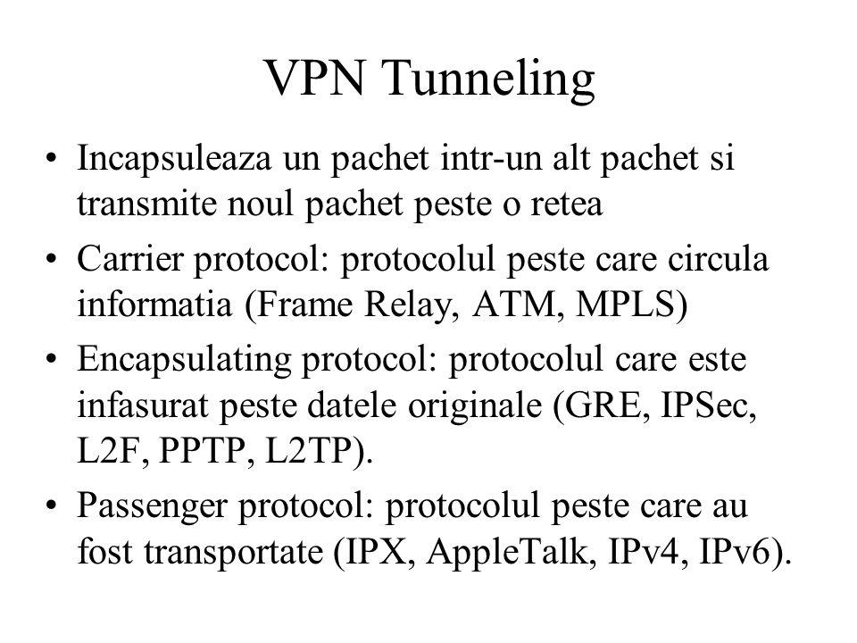 VPN Tunneling Incapsuleaza un pachet intr-un alt pachet si transmite noul pachet peste o retea Carrier protocol: protocolul peste care circula informatia (Frame Relay, ATM, MPLS) Encapsulating protocol: protocolul care este infasurat peste datele originale (GRE, IPSec, L2F, PPTP, L2TP).