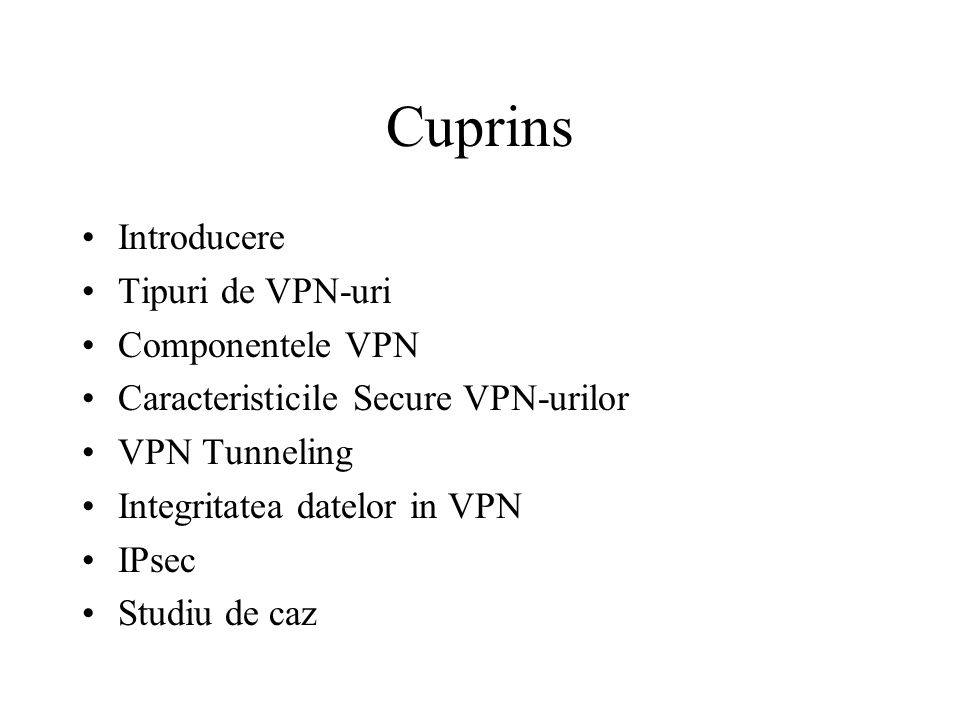 Introducere VPN Permite organizatiilor sa creeze retele private peste Internet Asigura confidentialitatea si securitatea Traficul este criptat Foloseste conexiuni virtuale care sunt rutate prin Internet Scalabilitate Cost redus