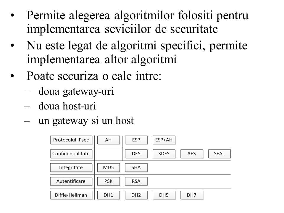 Permite alegerea algoritmilor folositi pentru implementarea seviciilor de securitate Nu este legat de algoritmi specifici, permite implementarea altor algoritmi Poate securiza o cale intre: –doua gateway-uri –doua host-uri –un gateway si un host