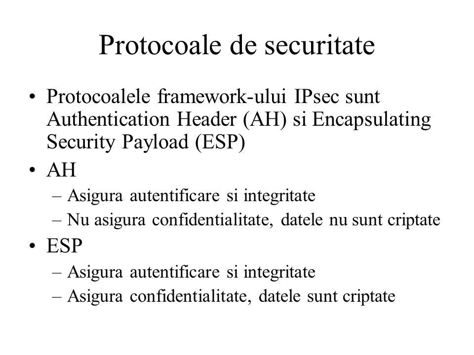 Protocoale de securitate Protocoalele framework-ului IPsec sunt Authentication Header (AH) si Encapsulating Security Payload (ESP) AH –Asigura autentificare si integritate –Nu asigura confidentialitate, datele nu sunt criptate ESP –Asigura autentificare si integritate –Asigura confidentialitate, datele sunt criptate