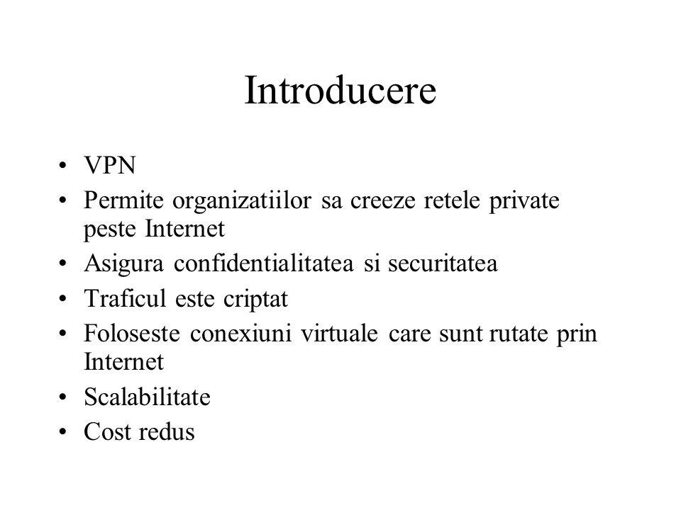 Criptarea asimetrica –Foloseste chei diferite pentru criptare si decriptare –Public key encryption este o varianta de criptare asimetrica care foloseste o combinatie de o cheie privata si o cheie publica –Receptorul da o cheie publica oricarui transmitator cu care doreste sa comunice –Transmitatorul foloseste o cheie privata combinata cu cheia publica a receptorului pentru a cripta mesajul –Transmitatorul trebuie sa ofere cheia publica proprie receptorului –Pentru a decripta mesajul receptorul receptorul va folosi cheia publica a transmitatorului cu propria cheie privata –Exemplu: Rivest, Shamir, and Adleman (RSA)