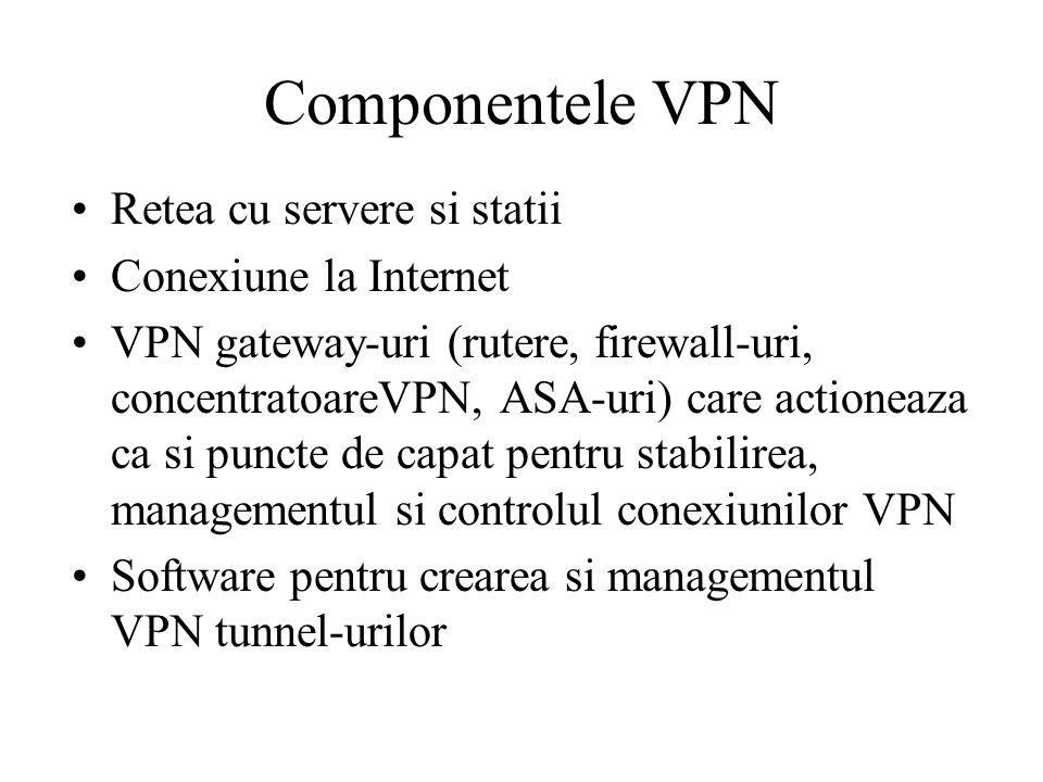 Componentele VPN Retea cu servere si statii Conexiune la Internet VPN gateway-uri (rutere, firewall-uri, concentratoareVPN, ASA-uri) care actioneaza ca si puncte de capat pentru stabilirea, managementul si controlul conexiunilor VPN Software pentru crearea si managementul VPN tunnel-urilor