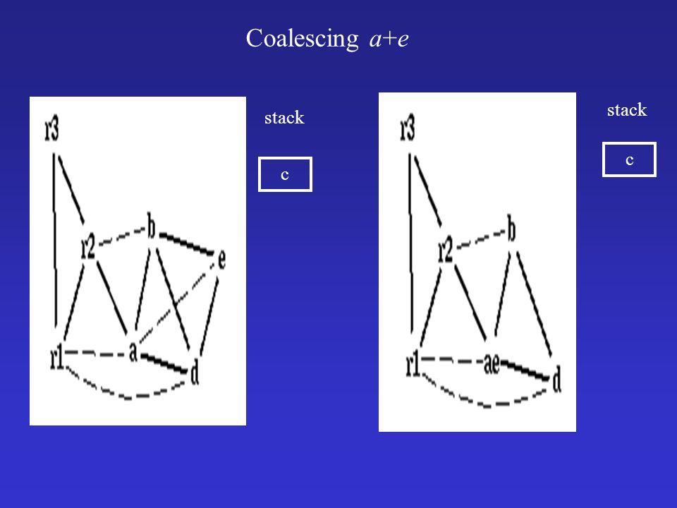 Coalescing a+e c stack c