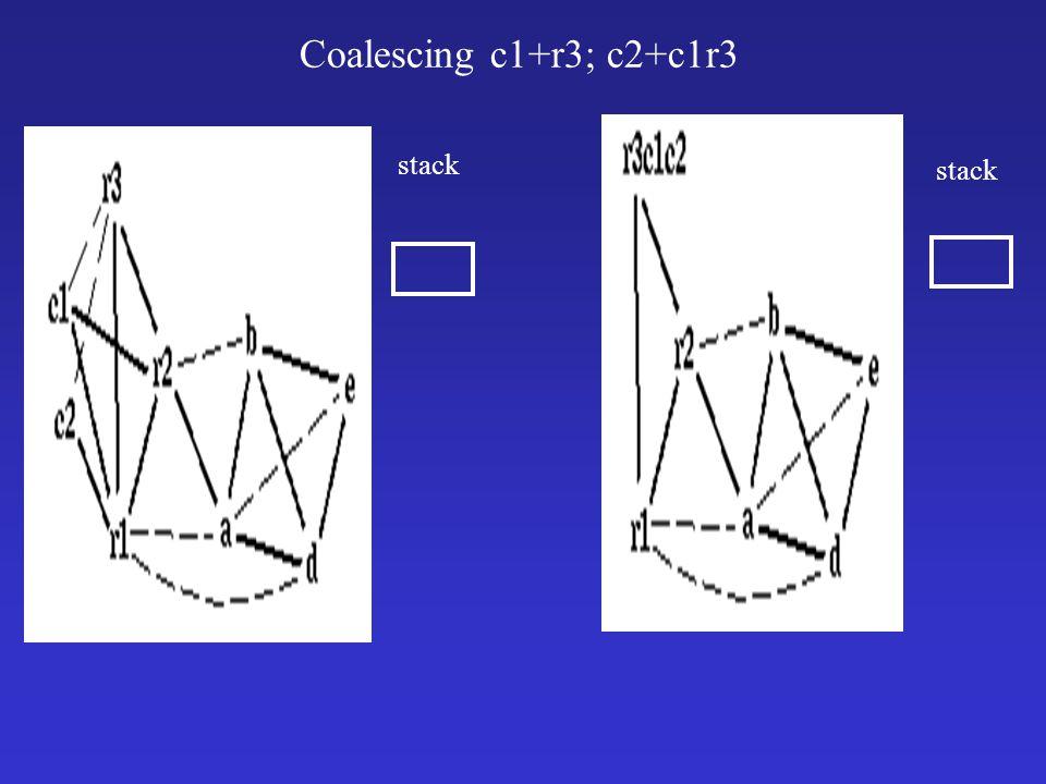 Coalescing c1+r3; c2+c1r3 stack