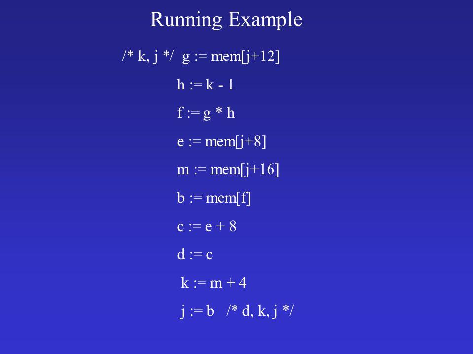 Running Example /* k, j */ g := mem[j+12] h := k - 1 f := g * h e := mem[j+8] m := mem[j+16] b := mem[f] c := e + 8 d := c k := m + 4 j := b /* d, k, j */