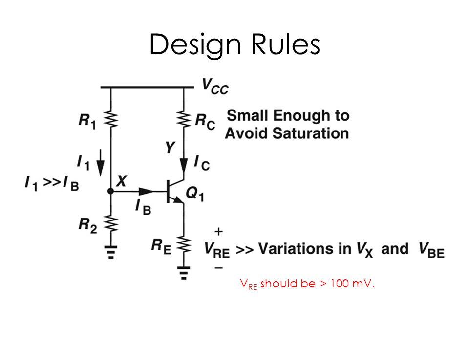 Design Rules V RE should be > 100 mV.