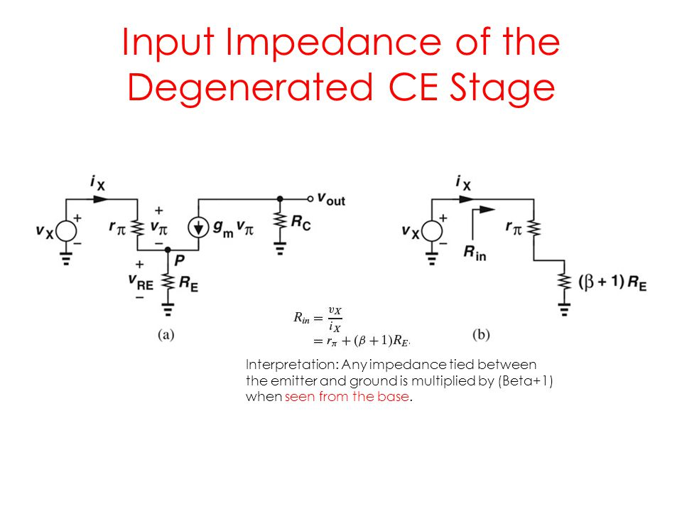 Input Impedance of the Degenerated CE Stage Interpretation: Any impedance tied between the emitter and ground is multiplied by (Beta+1) when seen from