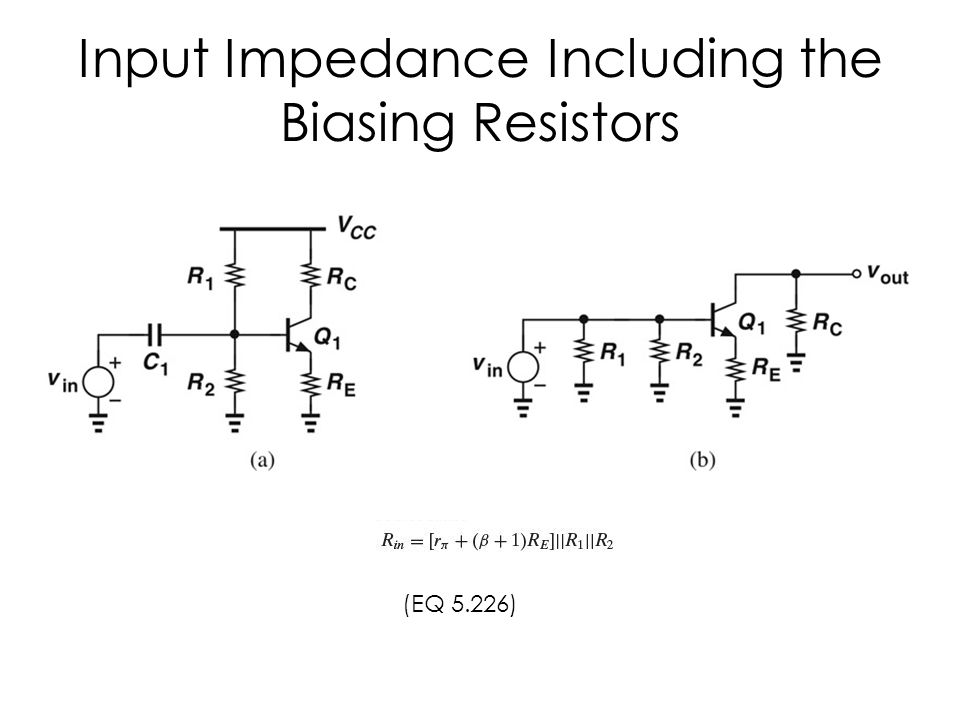 Input Impedance Including the Biasing Resistors (EQ 5.226)