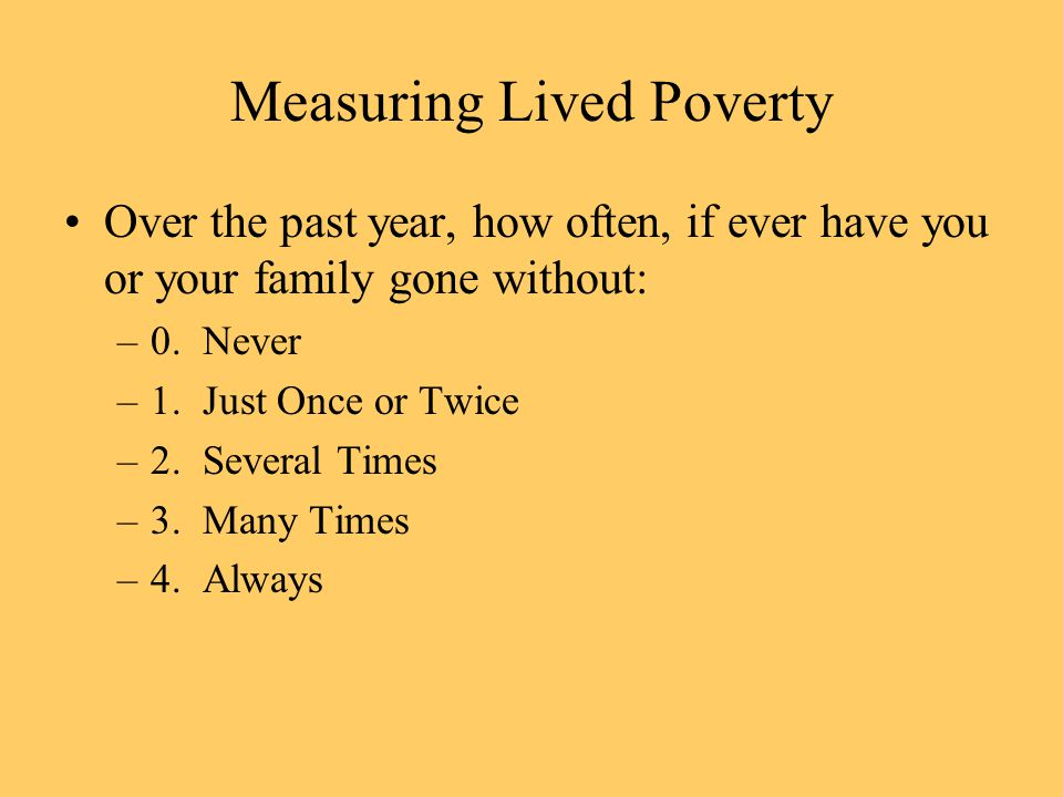 Measuring Lived Poverty Over the past year, how often, if ever have you or your family gone without: –0.