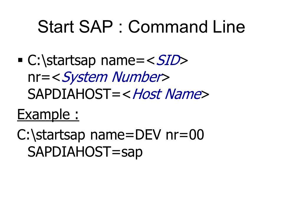 Start SAP : Command Line  C:\startsap name= nr= SAPDIAHOST= Example : C:\startsap name=DEV nr=00 SAPDIAHOST=sap