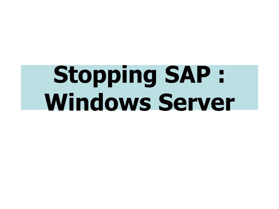 Stopping SAP : Windows Server