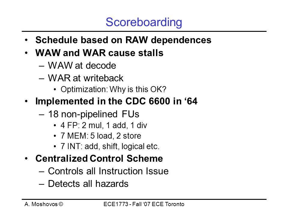 A. Moshovos ©ECE1773 - Fall '07 ECE Toronto Scoreboarding Schedule based on RAW dependences WAW and WAR cause stalls –WAW at decode –WAR at writeback
