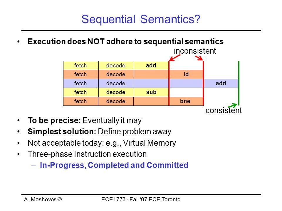 A. Moshovos ©ECE1773 - Fall '07 ECE Toronto fetchdecode fetchdecode sub bne fetchdecodeadd fetchdecodeld fetchdecodeadd Sequential Semantics? Executio