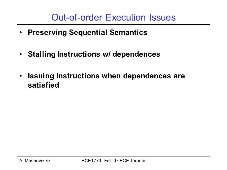 A.Moshovos ©ECE1773 - Fall '07 ECE Toronto Back to Sequential Semantics Instr.