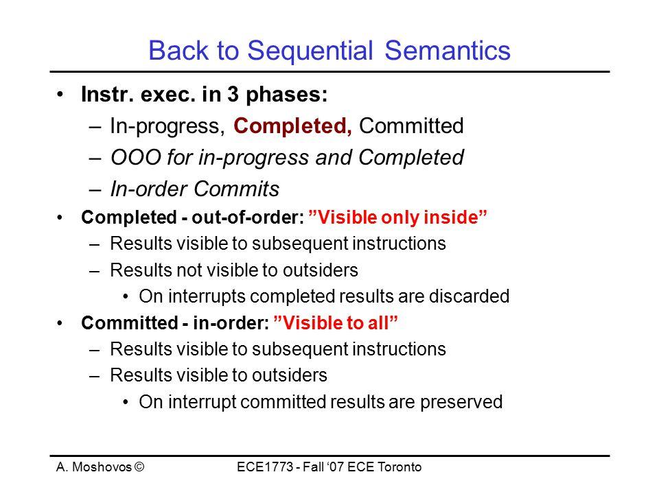 A. Moshovos ©ECE1773 - Fall '07 ECE Toronto Back to Sequential Semantics Instr.