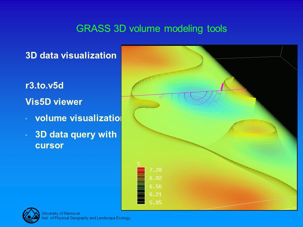 University of Hannover Inst. of Physical Geography and Landscape Ecology GRASS 3D volume modeling tools 3D data visualization r3.to.v5d Vis5D viewer 